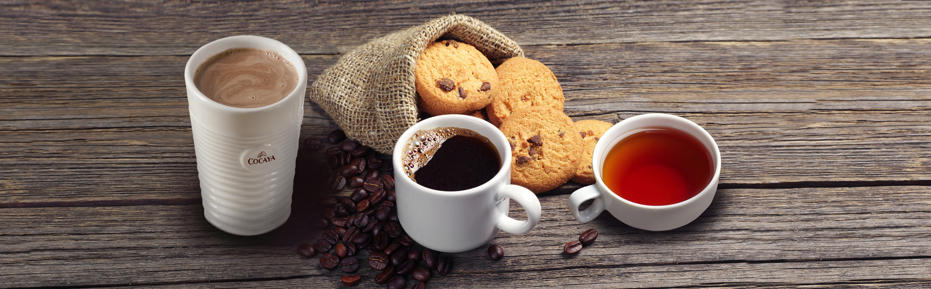 Kaffee,Tee,Kakao und Kekse